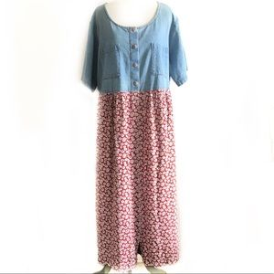 Denim and floral Women's dress 24 red button down